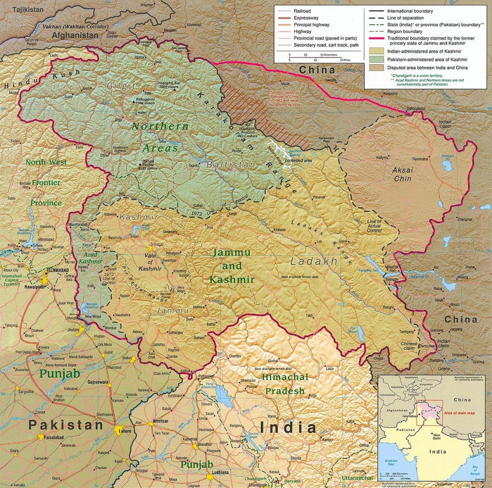 "<p>Image courtesy of the University of Texas. <a href=""https://commons.wikimedia.org/wiki/File:Kashmir_region_2004.jpg"">https://commons.wikimedia.org/wiki/File:Kashmir_region_2004.jpg</a></p>"