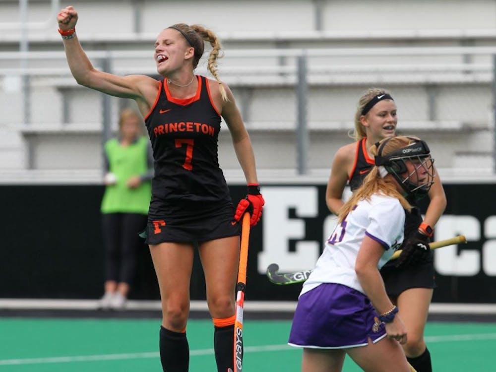 Hannah Davey celebrates a goal. Photo Credit: Beverly Schaefer / GoPrincetonTigers