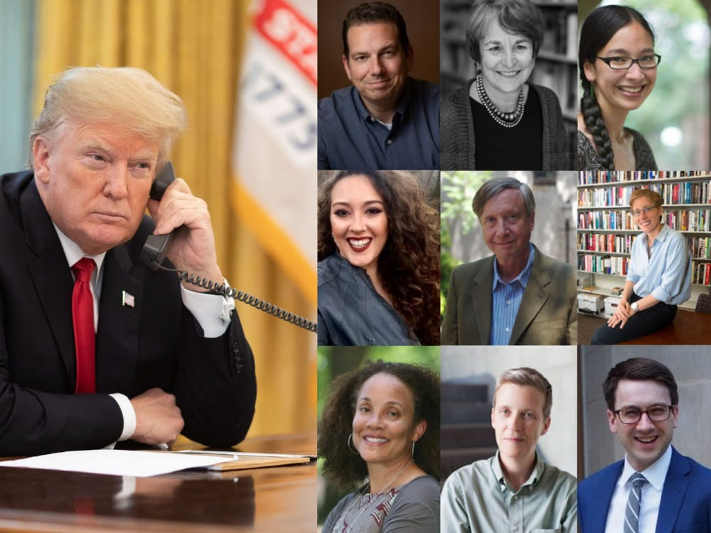 President Donald Trump and the 9 current University professors who initially signed a letter calling for his impeachment. Photo Courtesy of the White House via Flickr and the Princeton Department of History