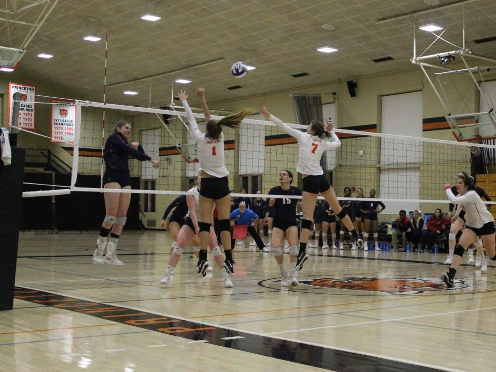 Alexa Underwood and Caroline Sklaver defend the net against Penn
