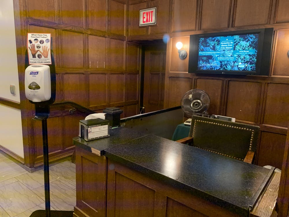 <p>A newly implemented hand-sanitizing station in the Rockefeller Dining Hall. Photo Credit: Caitlin Limestahl / The Daily Princetonian&nbsp;</p>