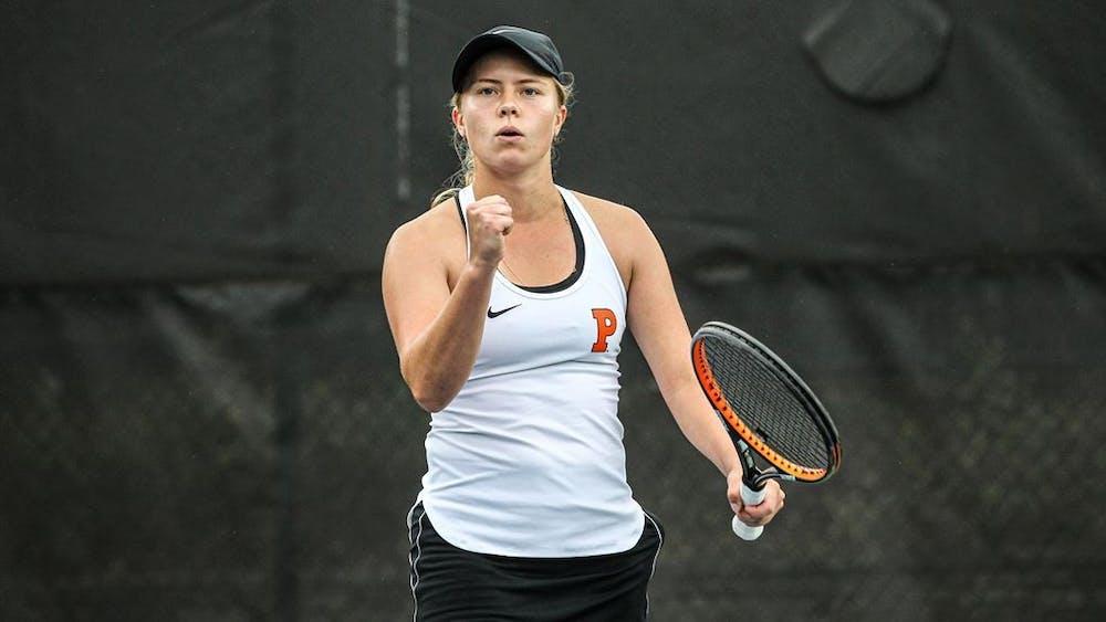Sophomore Brianna Shvets during a match. Photo Courtesy of GoPrincetonTigers.com