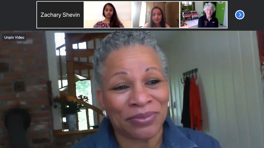 Vice President for Campus Life Rochelle Calhoun speaks at the virtual Q&A. Pictured above: USG President Chitra Parikh '21, USG Executive Director of Communications Hannah Kapoor '23, and Dean of the College Jill Dolan.