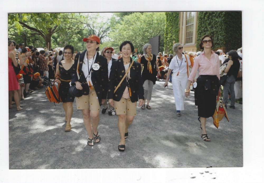 <h6>At the class of 1970's 45th Reunions, Princeton's eight first surviving female graduates returned to Princeton for the first time since graduation and marched in the P-Rade. Left to right: Mary Yee, Agneta Riber, Lynn Nagasako, Mae Wong Miller, Priscilla Read, Susan Craig Scott, and Judith-Ann Corrente.</h6> <h6>Courtesy of Mae Miller '70</h6>