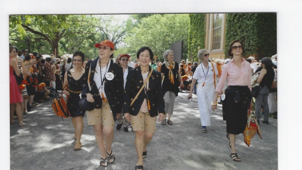 At the class of 1970's 45th Reunions, Princeton's eight first surviving female graduates returned to Princeton for the first time since graduation and marched in the P-Rade. Left to right: Mary Yee, Agneta Riber, Lynn Nagasako, Mae Wong Miller, Priscilla Read, Susan Craig Scott, and Judith-Ann Corrente. Courtesy of Mae Miller '70