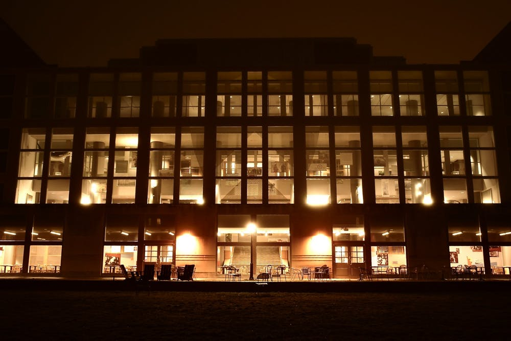<h5>Frist Campus Center at night.</h5> <h6>Jon Ort / The Daily Princetonian</h6>