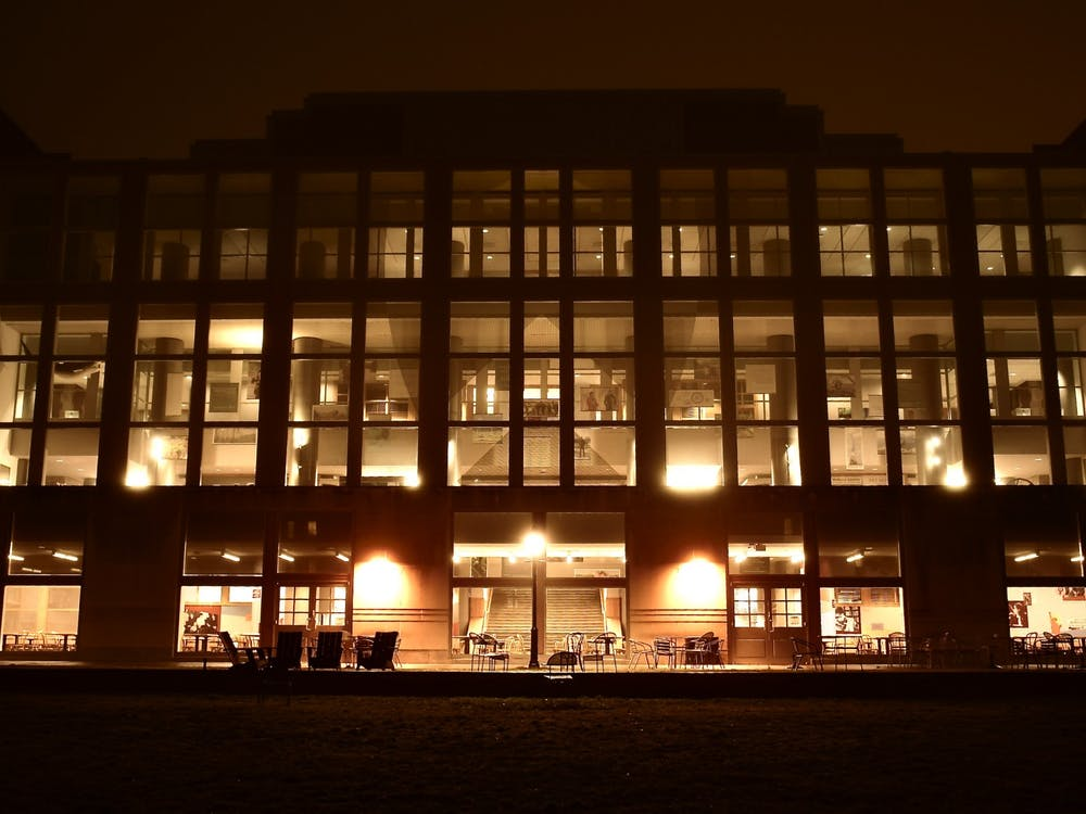 Frist Campus Center at night. Jon Ort / The Daily Princetonian