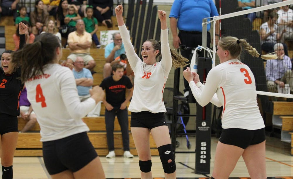 The team celebrates during their match against Columbia on Saturday. Photo by Beverly Schaefer / GoPrincetonTigers