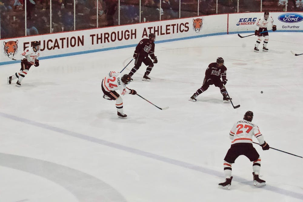 <p>Matthew Thom '21 shooting at Union's net. The goal was Princeton's only in Saturday's matchup.</p> <h6>Photo Credit: Tom Salotti / The Daily Princetonian</h6>