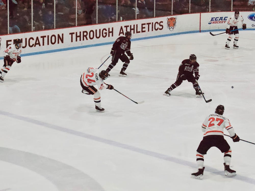Matthew Thom '21 shooting at Union's net. The goal was Princeton's only in Saturday's matchup. Photo Credit: Tom Salotti / The Daily Princetonian