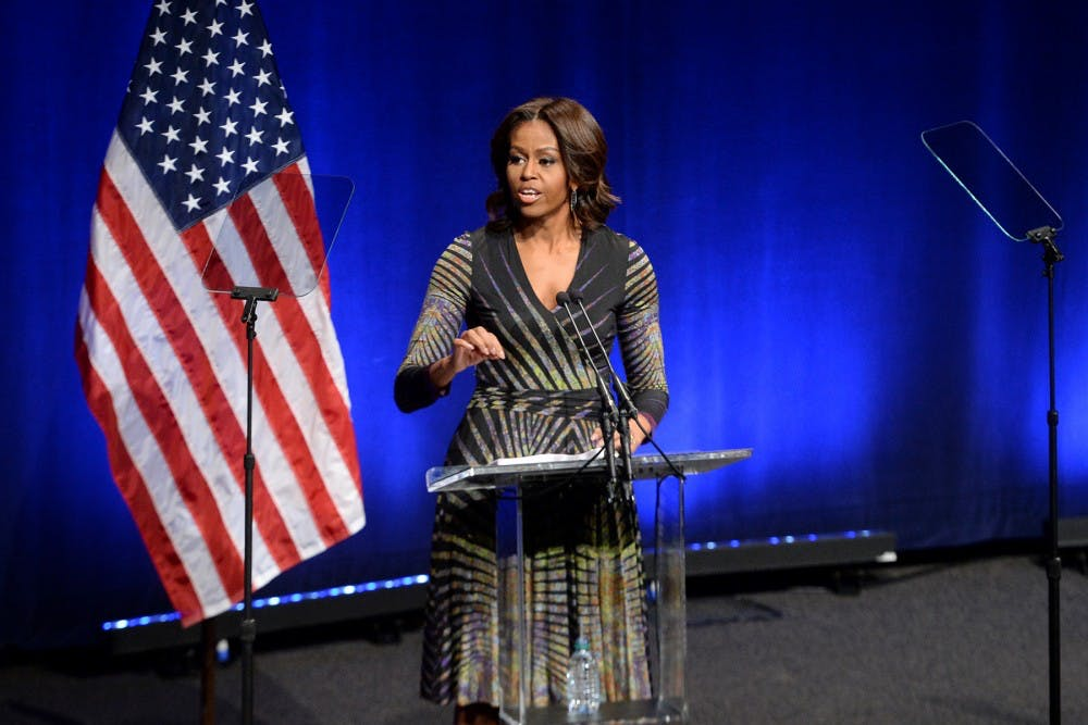 "<p>Michelle Obama speaks in Washington D.C. in 2015</p> <h6>Photo Credit: <a href=""https://www.defense.gov/observe/photo-gallery/igphoto/2001987747/"" target=""_self"">The Department of Defense</a></h6>"