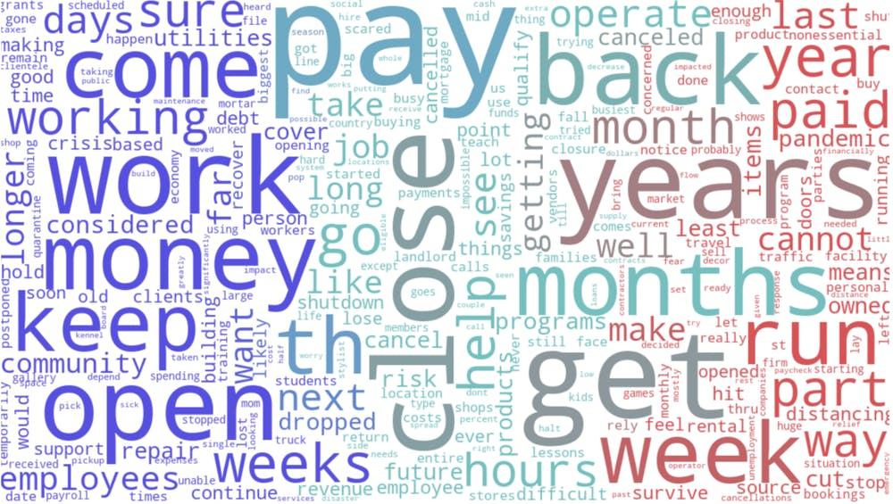 "<h6>Commonly used words among U.S. small business owners responding to the question, ""How have you and your business been affected?""</h6> <h6>Courtesy of the COVID-19 International Small Business Study</h6>"