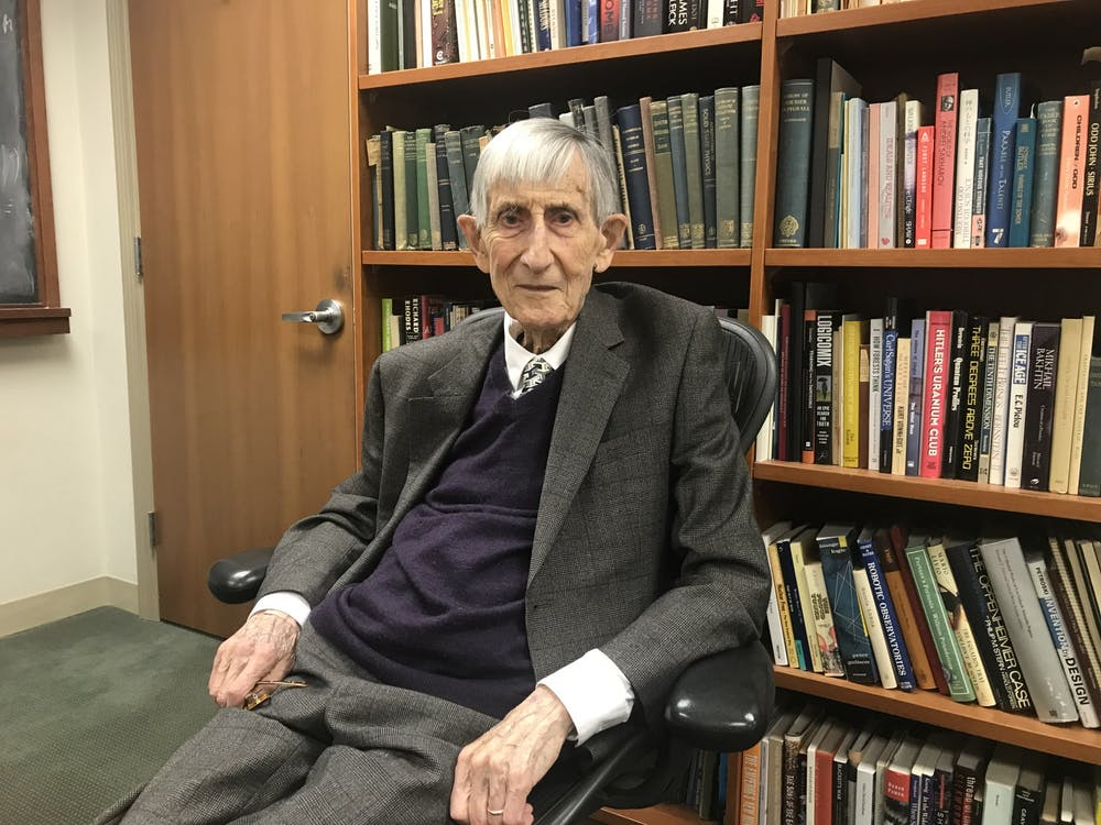 Freeman Dyson in his office at the Institute for Advanced Study in the spring of 2019.