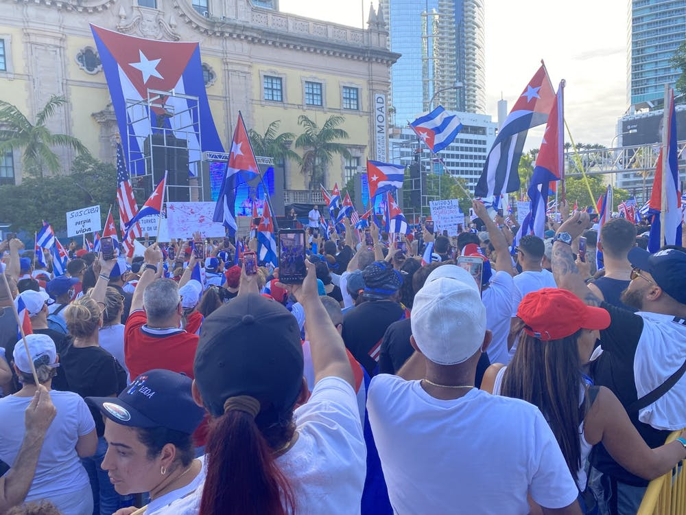 <h5>Around 3,000 people gathered for a rally on July 17 in front of the Freedom Tower in downtown Miami in solidarity with protests in Cuba.</h5> <h6>Marie-Rose Sheinerman / The Daily Princetonian</h6>
