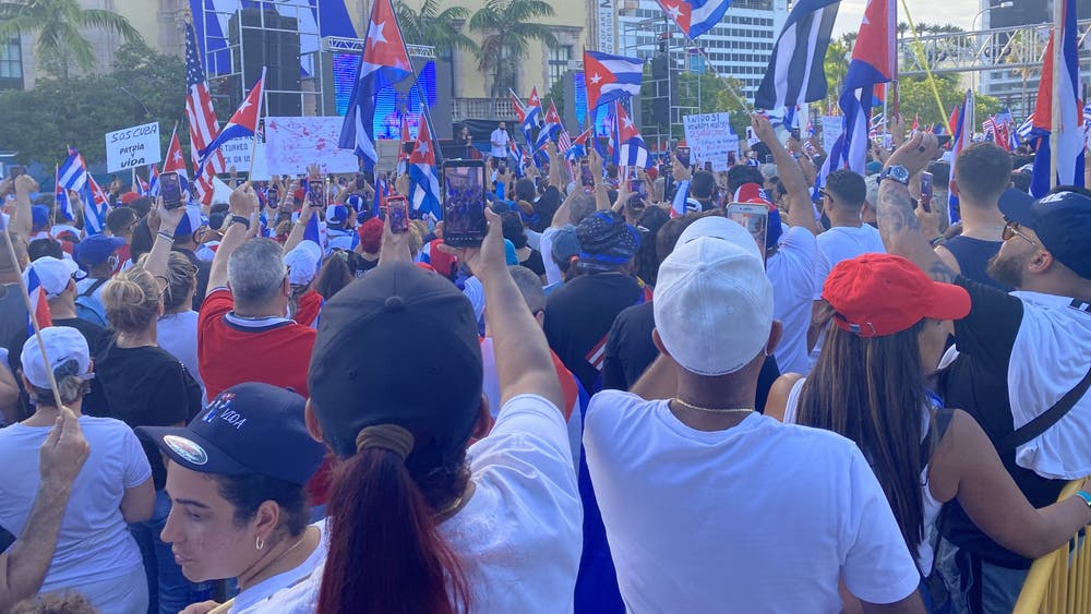 Around 3,000 people gathered for a rally on July 17 in front of the Freedom Tower in downtown Miami in solidarity with protests in Cuba. Marie-Rose Sheinerman / The Daily Princetonian