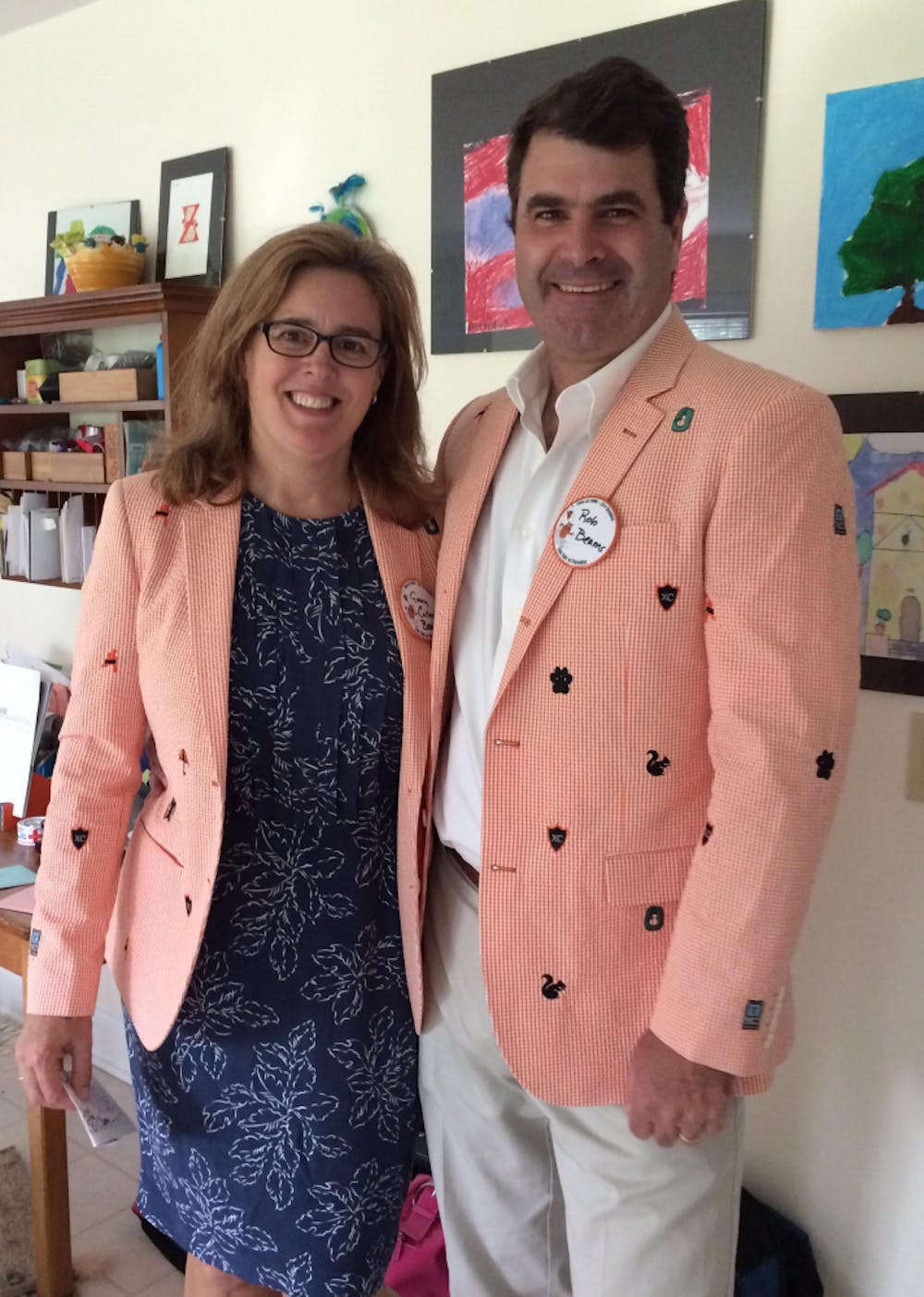 <p>Bob and Ginny Beams '90, sporting their Reunions jackets.</p> <h6>Photo Courtesy of Bob and Ginny Beams</h6>