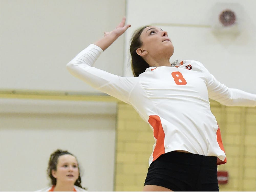 After helping the Princeton University women's volleyball team earn a pair of wins over the weekend, senior middle blocker Julia Schner was honored as the Ivy League Player of the Week. Courtesy of GoPrincetonTigers.com
