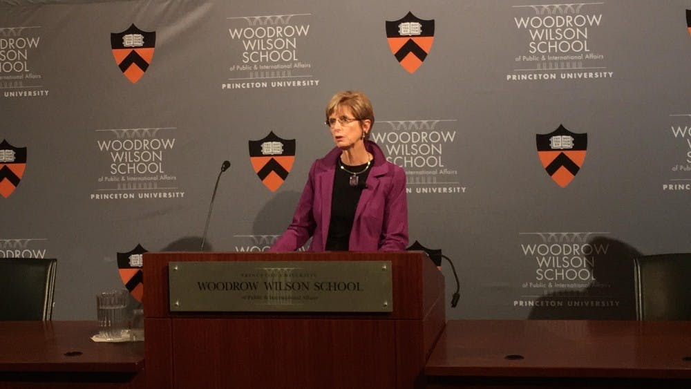 Former New Jersey Governor Christine Todd Whitman speaking in Robertson Hall on Monday, Dec. 3.