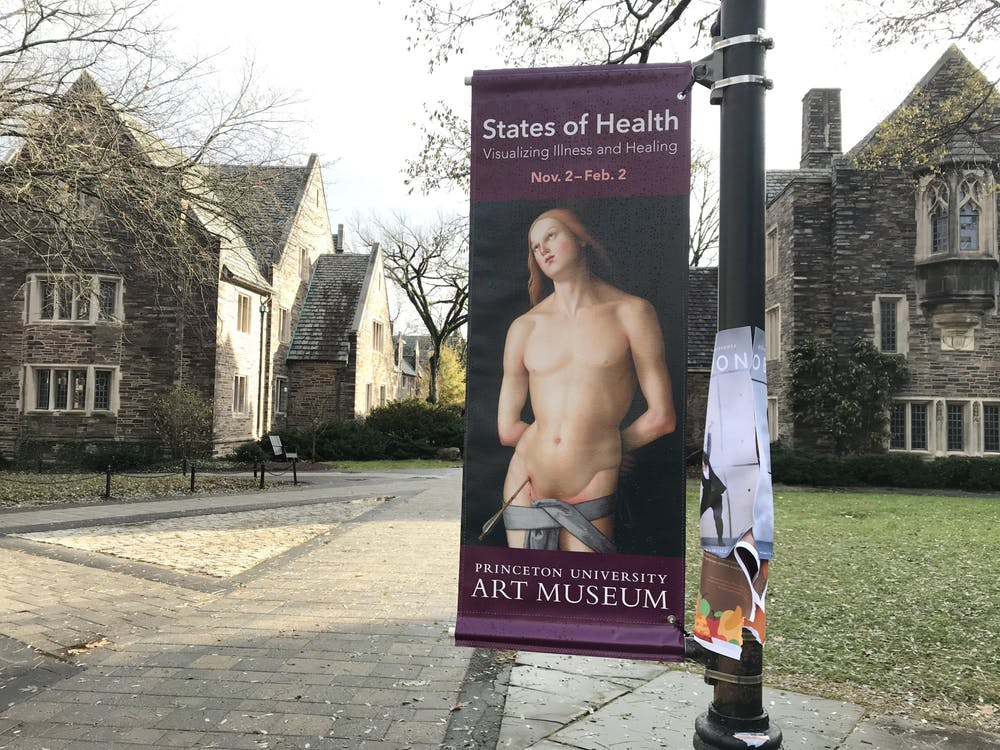 "An advertisement for the Art Museum exhibition, featuring Master of the Greenville Tondo's piece, entitled ""Saint Sebastian."" Photo Credit: Zachary Shevin / The Daily Princetonian"