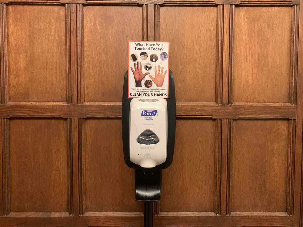 A newly implemented hand-sanitizing station in the Rockefeller Dining Hall. Photo Credit: Caitlin Limestahl / The Daily Princetonian