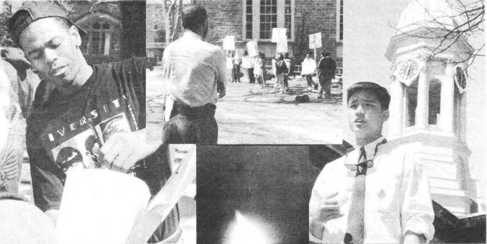 """<h5>Photos from the April 1995 protests to establish Asian American Studies and Latino Studies programs</h5> <h6>Poaning Wu / <a href=""""https://theprince.princeton.edu/princetonperiodicals/?a=d&amp;d=Princetonian19950424-01.2.12&amp;e=-------en-20--1--txt-txIN-------"""" target=""""_self"""">The Daily Princetonian</a></h6>"""