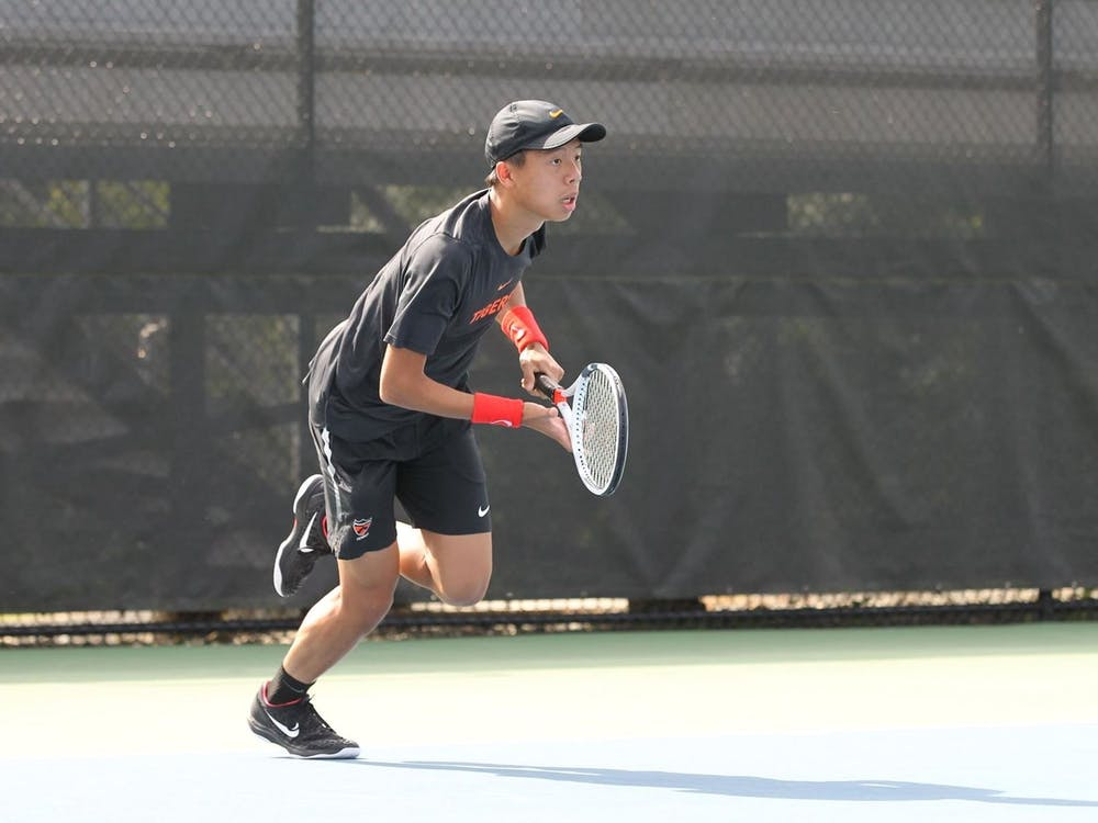 Sophomore Justin Barki, pictured, won his singles match at #3 against ODU last weekend with 6-0 and 6-4 games. He also won his doubles match with junior Damian Rodriguez. Photo courtesy of Princeton Athletics