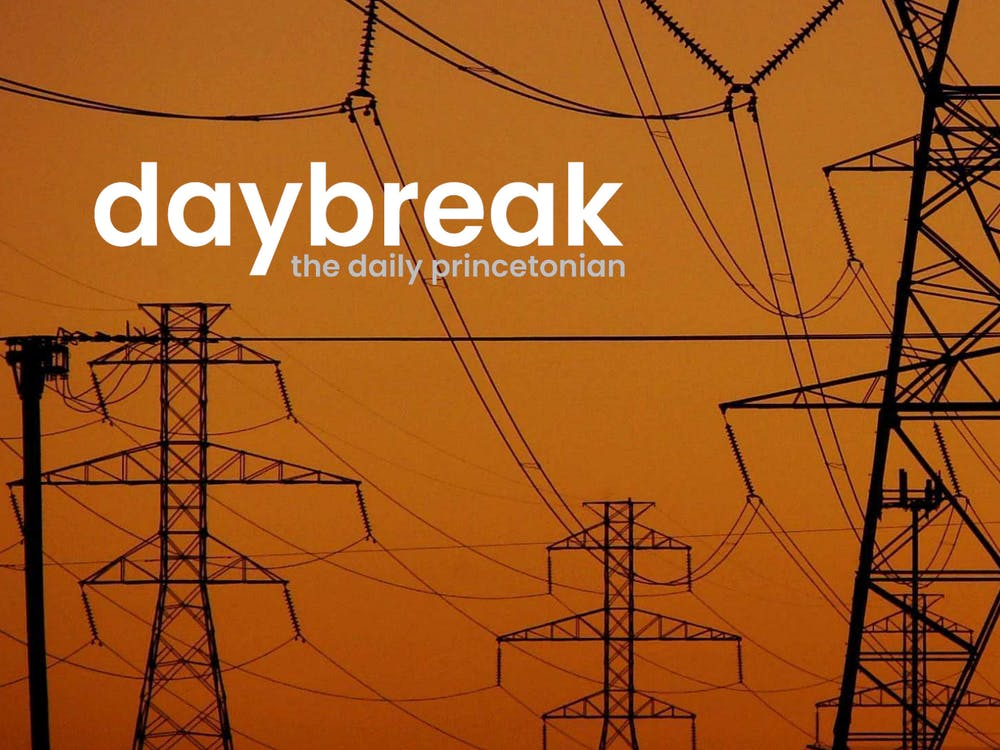 """High-tension power transmission towers at twilight in North Texas"" by David R. Tribble with an added Daybreak logo / CC-SA 3.0"