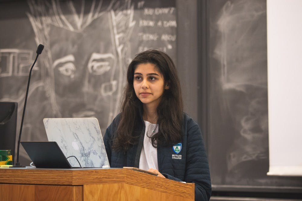 <p>Virk recapped her meeting with the Graduate Student Government during Sunday's senate meeting.</p> <p>Source: Brad Spicher / USG</p>