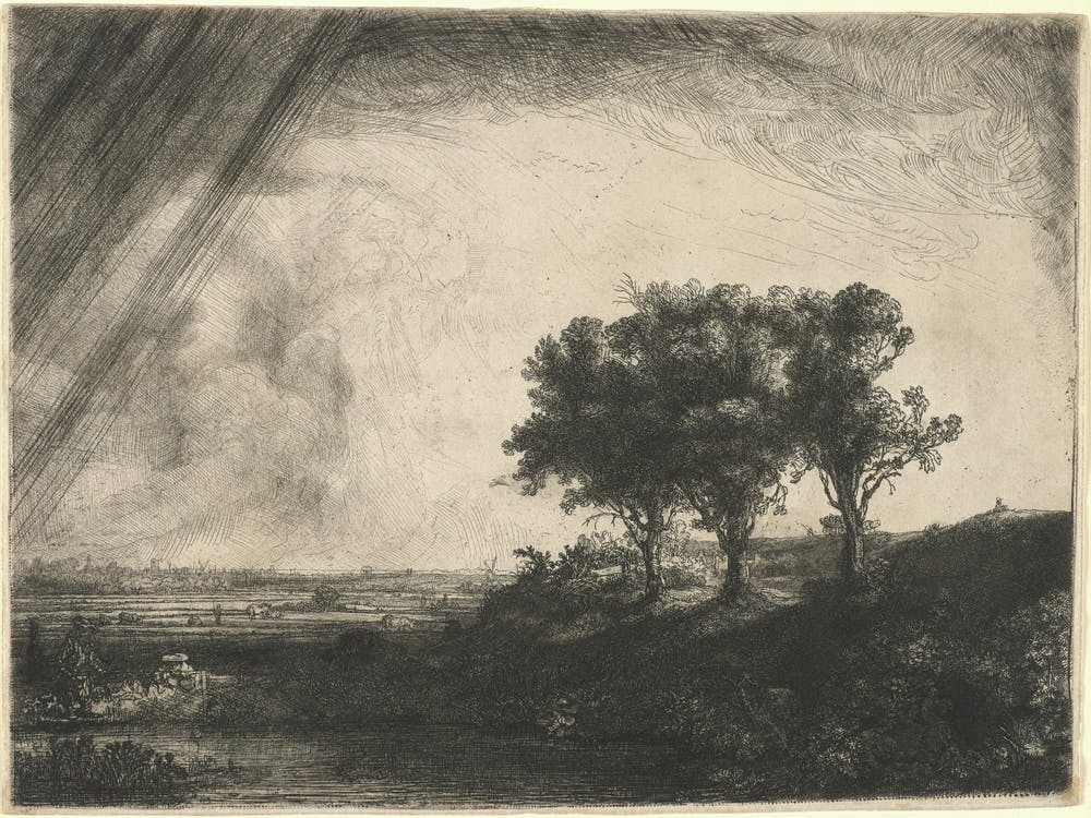 The Three Trees, 1643 Rembrandt van Rijn, Dutch, 1606–1669 Etching with drypoint and engraving plate: 21 × 28 cm (8 1/4 × 11 in.) sheet: 21.3 × 28.5 cm (8 3/8 × 11 1/4 in.) Princeton University Art Museum. Museum purchase, Fowler McCormick, Class of 1921, Fund and Laura P. Hall Memorial Fund in memory of the Museum's dear friend and benefactor David A. Tierno