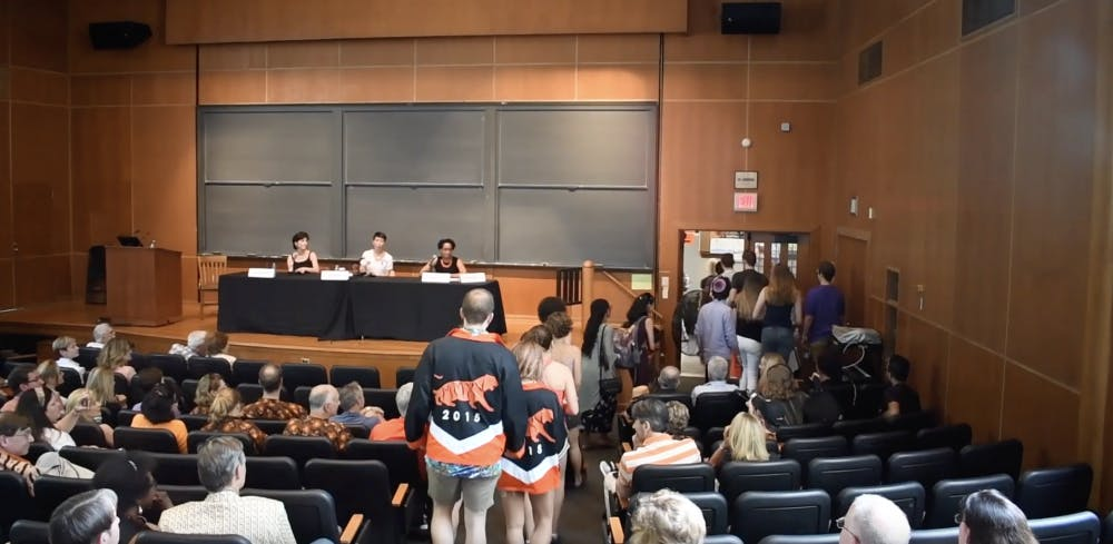 <p>On Saturday, June 1, students and alumni walked out of a #MeToo panel hosted for an Alumni-Faculty forum. Photo: Sarah Warman Hirschfield / The Daily Princetonian</p>