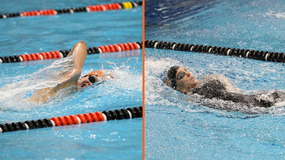 Caption: Members of the men's and women's swim team.  Credit: Beverly Schafer, GoPrincetonTigers