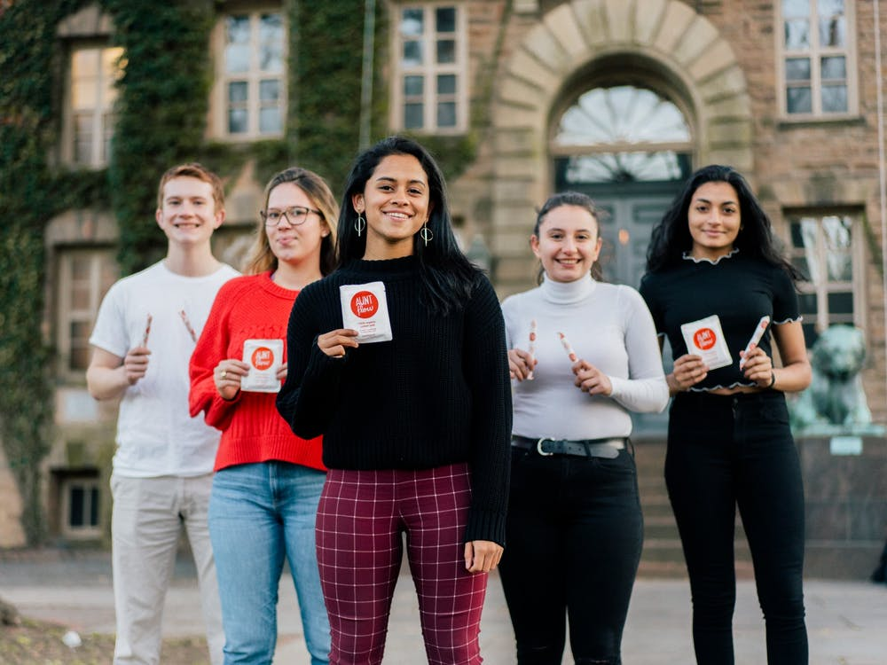 Leaders of the Menstrual Product Task Force include (from left to right) Benjamin Harrison '22, Madeleine Marr '21, Preeti Iyer '20, Stephane Sartzetakis '22, and Rayyan Sarker '22. Photo Courtesy of Preeti Iyer '20