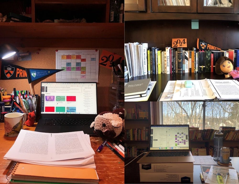 <h5>Left: a view of the at-home desk of Masha (Maria) Khartchenko '24.</h5> <h5>Top and bottom right: a view of the at-home study spaces of Mollika Singh '24.</h5> <h6>Courtesy of Masha Khartchenko '24 and Mollika Singh '24</h6>