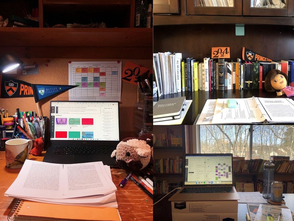 Left: a view of the at-home desk of Masha (Maria) Khartchenko '24. Top and bottom right: a view of the at-home study spaces of Mollika Singh '24. Courtesy of Masha Khartchenko '24 and Mollika Singh '24