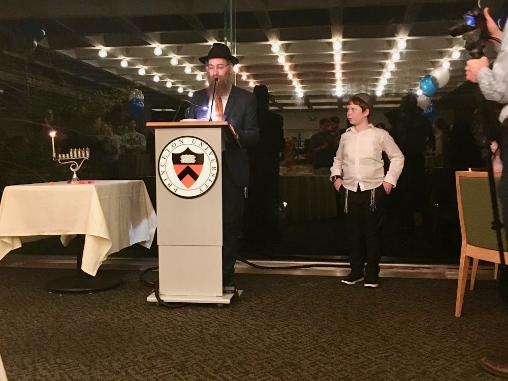 Rabbi Eitan Webb spoke at the Hanukkah event at Prospect House on Thursday, Dec. 6.