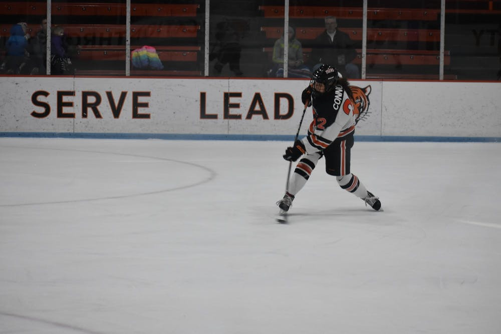<p>Maggie Connors shoots on goal.</p> <h6>Photo Credit: Owen Tedford / Daily Princetonian</h6>
