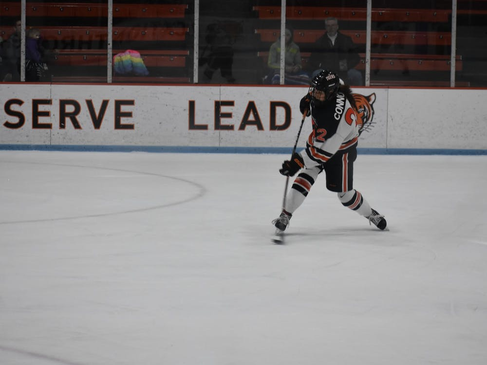 Maggie Connors shoots on goal. Photo Credit: Owen Tedford / Daily Princetonian