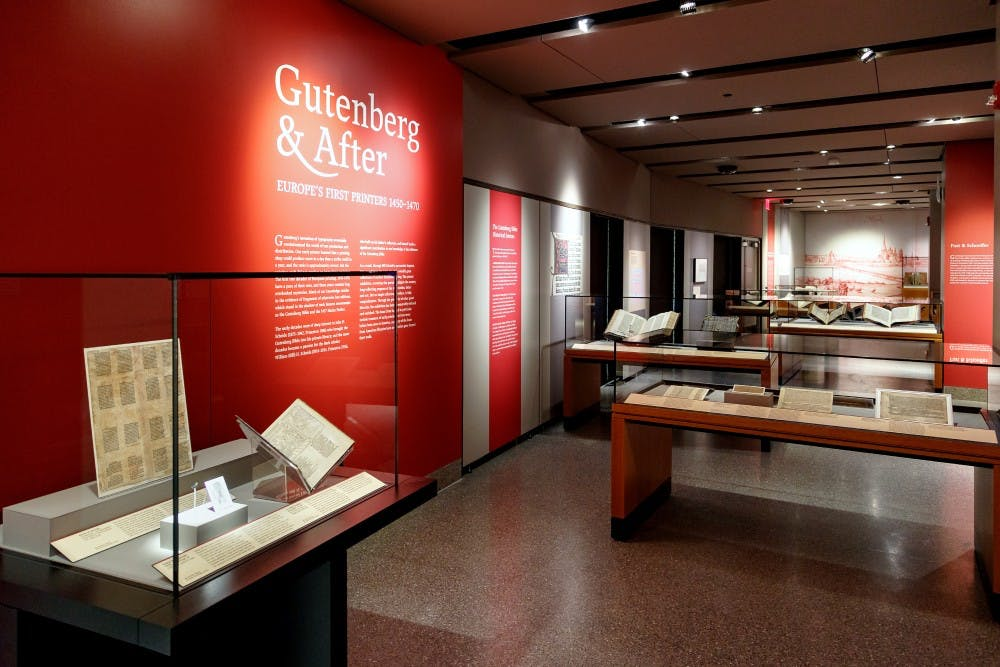 "<p>The exhibit ""Gutenberg &amp; After,"" currently open at Firestone Library.</p> <h6>Photo Courtesy of Shelley Szwast / Princeton University Library</h6>"