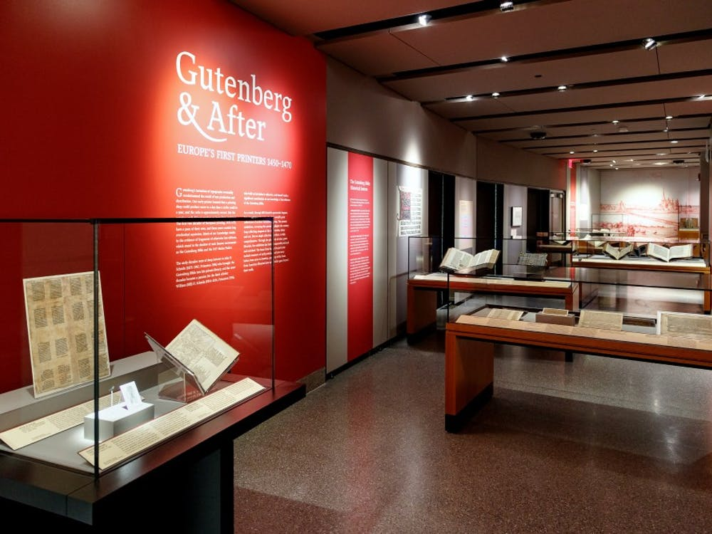 "The exhibit ""Gutenberg & After,"" currently open at Firestone Library. Photo Courtesy of Shelley Szwast / Princeton University Library"