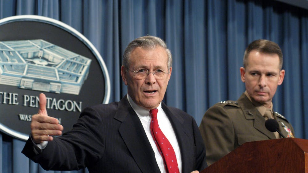 Donald Rumsfeld '54 at a Pentagon press conference on Dec. 16, 2003. Photo Courtesy of Department of Defense Press Operations