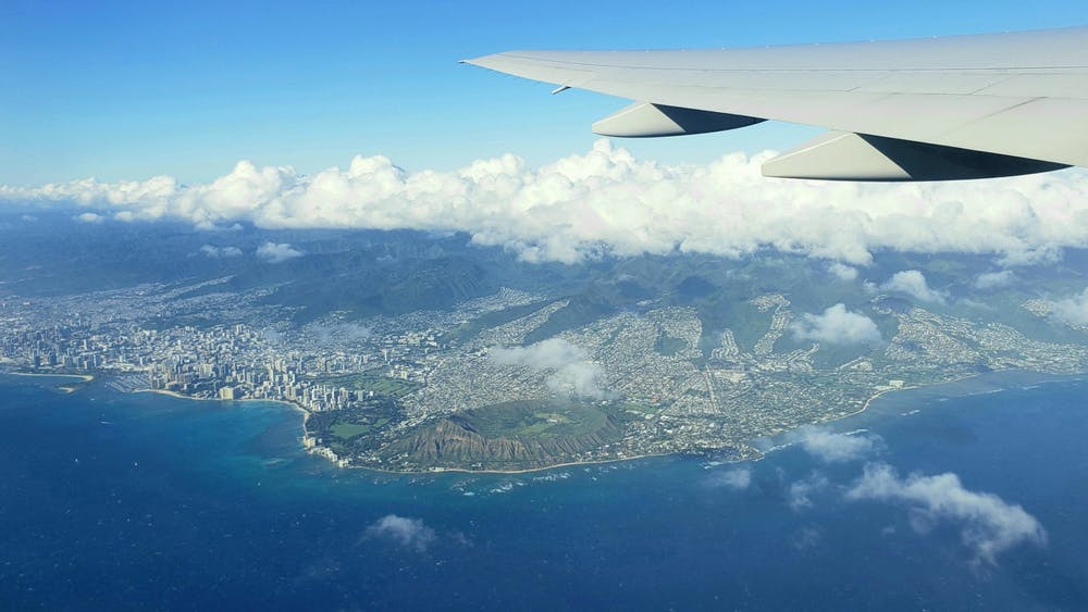 An aerial view of the Hawaiian island of Oahu, including the Waikīkī skyline. Albert Jiang / The Daily Princetonian