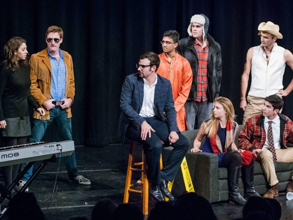 All-Nighter cast in a season premiere sketch. Photo courtesy of Marcos Cisneros '15.