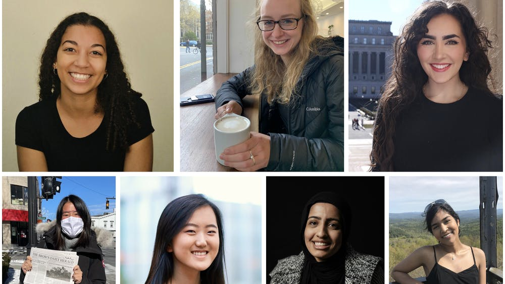 Top row, from left to right: Hadriana Lowenkron of The Daily Pennsylvanian, Emma Treadway of The Daily Princetonian, and Sarah Braka of The Columbia Daily Spectator. Bottom row, from left to right: Kayla Guo of The Brown Daily Herald, Amanda Y. Su of The Harvard Crimson, Maryam Zafar of The Cornell Daily Sun, and Rachel Pakianathan of The Dartmouth. The 'Prince' was unable to obtain a photo of Mackenzie Hawkins of The Yale Daily News. Photos of Emma Treadway, Kayla Guo, Amanda Y. Su, Maryam Zakar, and Rachel Pakianathan courtesy of the subject. Photo of Sarah Braka courtesy of Beatrice Shlansky. Photo of Hadriana Lowenkron courtesy of Sophia Rothstein.