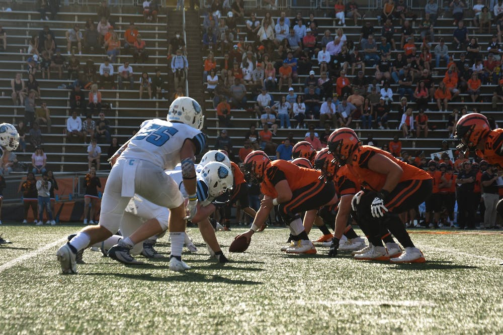 <h5>Tigers and Lions face off during a fourth-quarter drive that ended in Princeton's third touchdown of the game.</h5> <h6><strong>Mark Dodici / The Daily Princetonian</strong></h6>