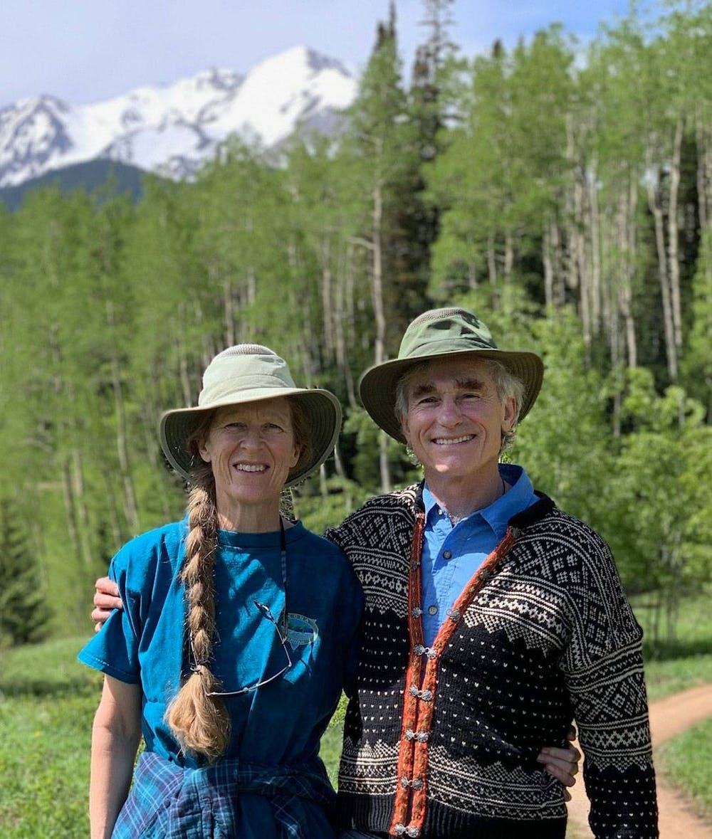 "<h5>Currie and Tom Barron '74, pictured at their home in Colorado.</h5> <h6><em>Photo courtesy of Currie and Tom Barron via the </em><a href=""https://www.princeton.edu/news/2020/11/16/currie-barron-and-tom-barron-74-establish-research-fund-preserve-biodiversity"" target=""_self""><em>Office of Communications</em></a></h6>"
