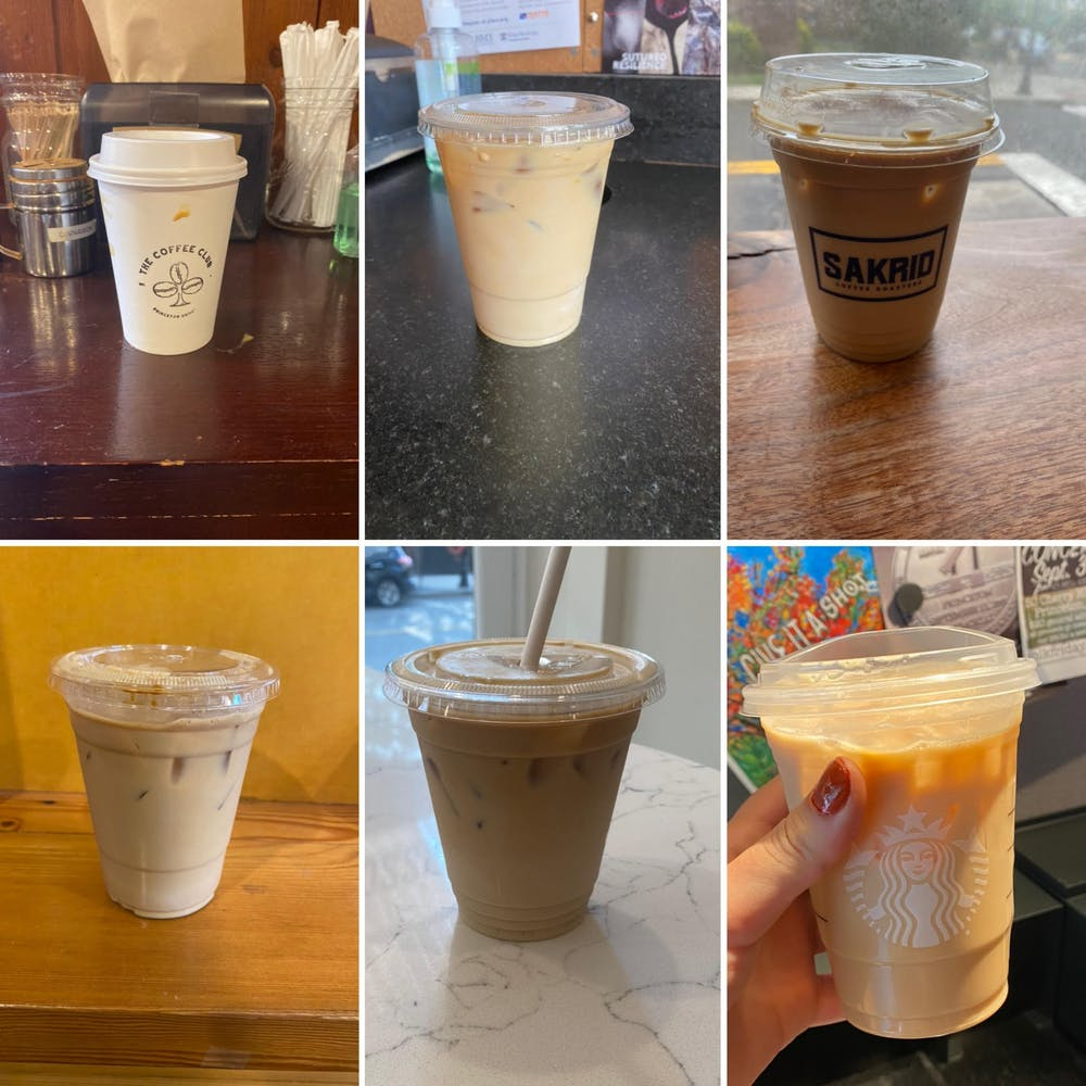 <h5>Iced lattes from six Princeton locations.</h5> <h5>TOP left to right: Coffee Club, Rojo's Roastery, Sakrid</h5> <h5>BOTTOM left to right: Small World, Bread Boutique, Starbucks</h5> <h6>Sydney Eck / The Daily Princetonian</h6>