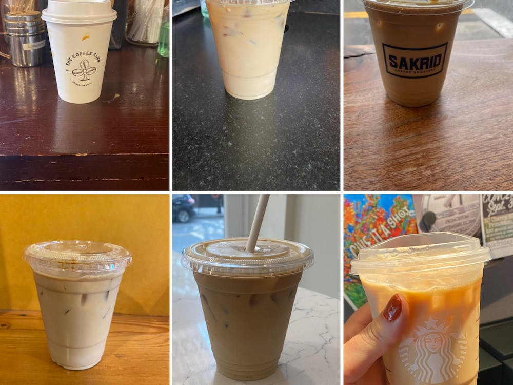 Iced lattes from six Princeton locations. TOP left to right: Coffee Club, Rojo's Roastery, Sakrid BOTTOM left to right: Small World, Bread Boutique, Starbucks Sydney Eck / The Daily Princetonian