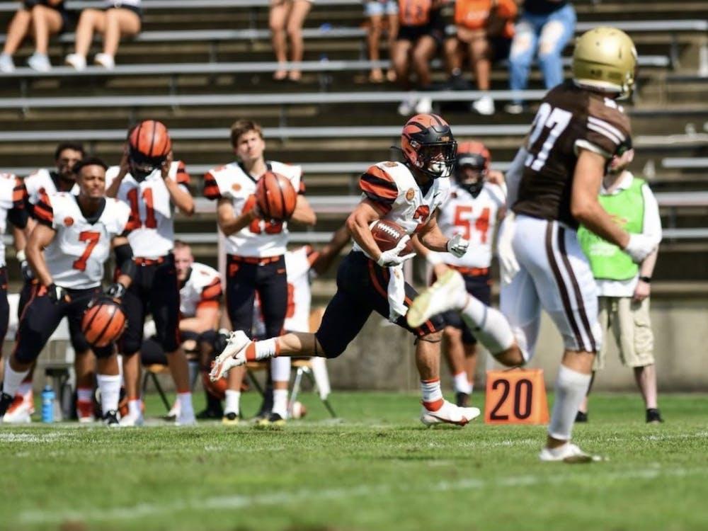 Senior Jacob Birmelin cruises into the end zone for a 42-yard touchdown. Princetonftbl / Instagram
