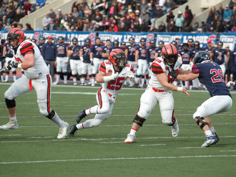 Ryan Quigley rushes in the first half against Penn. Photo Credit: Jack Graham / The Daily Princetonian