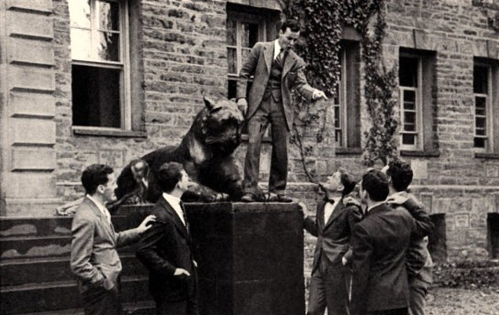 """<p>""""Commander"""" Lewis Gorin '36 speaking to members of the Veterans for Future Wars on the steps of Nassau Hall</p> <h6>Photo Credit: Hoaxes.org</h6>"""